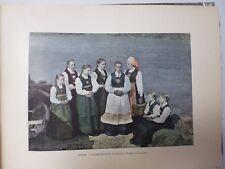 NORVEGE/SUEDE/Gravure 19°in folio couleur/ SOGNEFIORD /COSTUMES  NORVEGIENS