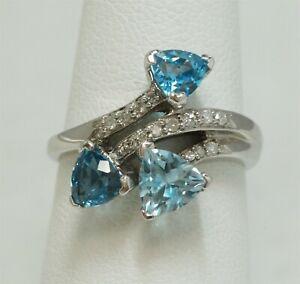 Alwand Vahan 14K White Gold London / Sky Blue Topaz 1/5 cttw Diamond Bypass Ring