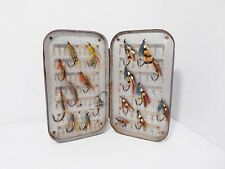 Vintage Antique Japanned Fly Box & Salmon Flies