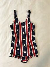 SPEEDO Vintage American Flag Striped Bathing Suit One Piece Size 30 Woman's