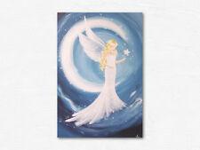 """Engelbild Kunstfoto """"Ein Teil von Dir"""" Wanddeko Schlafzimmer, Mond, Stern, Blau"""