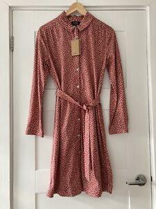 APC Daphne red floral print cotton jersey shirt dress FR 34 / UK 6 *NEW W/TAGS*