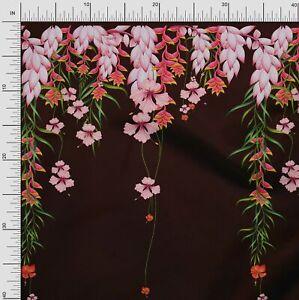 Soimoi Cotton Poplin Fabric Leaves & Flower Panel Decor Fabric Printed-e7D