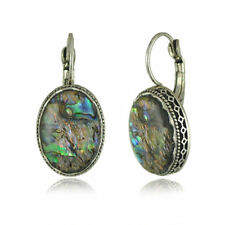5Colors Vintage Drop Shape Abalone Shell Earrings Oval Mother-of-Pearl 20x16mm K