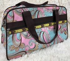 LeSportSac Small Weekender Overnight Carryall Zip Top Hearts Pink Blue