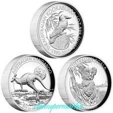 2015 Australia Kookaburra Kangaroo Koala Proof Silver High Relief 3-Coin Set !!
