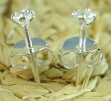 """silver 2.5mm White Cz studs Earring -Unisex """"Buy 3 Get 1 Free"""" Real 925 sterling"""