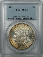 1885 Morgan Silver Dollar Coin $1 PCGS MS 63 Light Toning (BR-17 F)