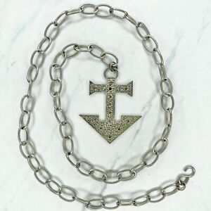 """Silver Tone Anchor Charm Belly Body Chain Belt One Size 36"""""""