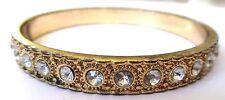bracelet vintage rigide gravé relief cristaux diamant tout le tour coul.or *433