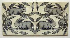 William De Morgan 2 Tile Rabbit Panel / Bathroom / Kitchen / Splashback / Plaque