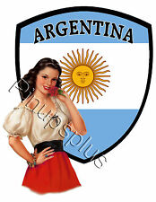 Retro Argentina Pinup Girl Waterslide Decal for Guitars & More S807