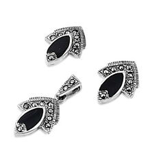 USA Seller Black Onyx Marcasite Set Silver 925 Pendant & Earrings Jewelry Gift