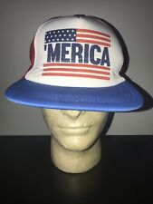 bf6e617f5df9da VINTAGE 'MERICA AMERICA Trucker Hat Baseball Cap Retro Rare Lid MESH  SNAPBACK