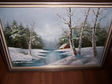 ORIGINAL OIL PAINTING CABIN IN THE WOODS DONE BY FAMOUS ARTIST CANTRELL SIGNED