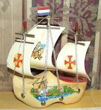 Old Nautical Dutch Wood Shoe Clog 3 Sails Sailing Ship Boat Holland Souvenir