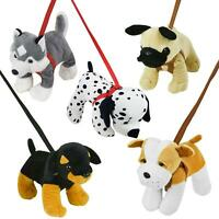 Standing Dog On A Lead Plush Soft Toy Puppy Toys Walk Kids Teddy Pet Assorted