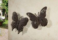 2er Wanddeko Schmetterling Falter Wandschmuck Wandbild Metall-Hänger Garten Deko