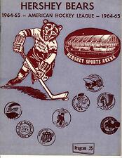 1964-1965 Vintage Hershey Bears Program