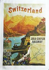 Switzerland - Retro Style Travel Poster Large Cotton Tea Towel by Half a Donkey