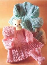 Baby Knitting Pattern Matinee Coat Bonnet Socks Copy 8 Ply Includes Premmie Size