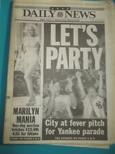 MARILYN MONROE AUCTION NEW YORK DAILY NEWSNEWSPAPER 10/29 1999 YANKEES PARADE