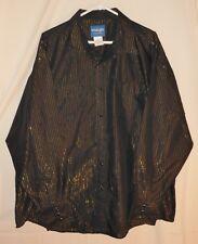 Vtg Western Shirt Wrangler Pearl Snap Fancy Metal Thread Big Man XXL 2XL