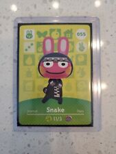 Snake #055 Never Scanned Animal Crossing Amiibo Card in Sleeve and Top Loader