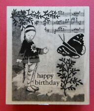 Collage Birthday Hero Arts H4774 Asian Girl Music Notes Butterfly Rubber Stamp