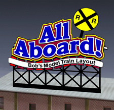 ALL ABOARD CUSTOMIZED BILLBOARD ANIMATED SIGN - HO-SCALE- LIGHTS, FLASHES & MORE