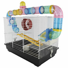 Hamster Cage 2 Level Mice Gerbil Heaven Tube Spinning Wheel Feeder Ladder