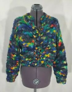 Vintage Henri Bendel Colinette Chunky Knit Cardigan Sweater Oversized Wool O/S