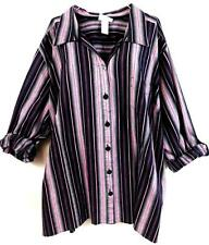 Liz & me black pink striped roll up sleeve shimmer spandex button down top 4X