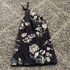 Anthropologie Maeve Black Floral Ashbury One Shoulder Dress Size 2
