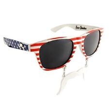Red, White And Blue Patriot SunStaches With Mustache, Sunglasses, 4th Of July,