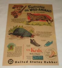 1956 Keds shoes ad page ~ FOOTNOTES ON WILD ANIMALS ~ The Cheetah and The Mole
