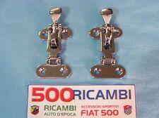 FIAT 500 F/L/R COPPIA GANCI COFANO ANTERIORE MOTORE POSTERIORE METALLO CROMATO