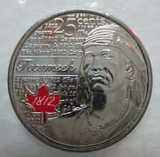 2012 CANADA 25¢ TECUMSEH COLOURED BRILLIANT UNCIRCULATED QUARTER COIN