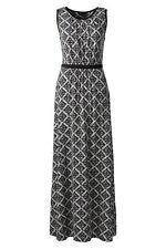 Lands End Women's Sleeveless Shirred Maxi Dress Black Diamonds New