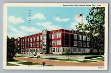 Sioux City Iowa IA North Junior High School Street View Curt Teich Postcard 1944