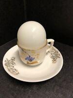 Breakfast Set  White/Gold Ceramic Egg Cup & eggshell Dish For Hard Boiled Egg