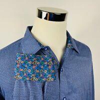 Robert Graham Mens 2XL Classic Fit Paisley Flip Cuff Shirt Blue Knit Cotton