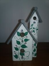 """Hand painted ivy Rustic Wood Bird House 9"""" tall, 4.5 wide. Heavy"""