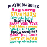Kids Playroom Rules Fun Colourful Wall Art Print