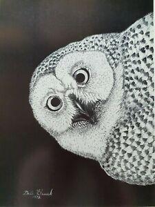 "Dale Hauck 1972 Lithografie ""Owl"" Schwarz Handsigniert Eule Nathan Art Gallerie"