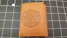 "Genuine Leather ""FIREMAN-FIREFIGHTER"" TRI-FOLD WALLET TAN"