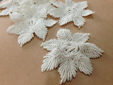 A25 vintage cream snowflake flower cotton sewing lace patch trim 7cms 5 pieces