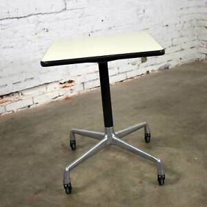 Eames for Herman Miller Rolling Side Table Universal Base White Laminate Top