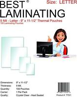 Best Laminating 5 Mil Letter Laminating, 9 x 11.5 inches - 100 Clear Pouches