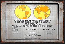 Gold Silver Lunar Plaque placed on the moon by Apollo Astronauts Signed Landing